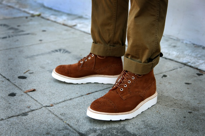 Shoe Leather Brown Ankle High White Sole Classic Mens